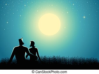 Couple sitting on grass watching the full moon