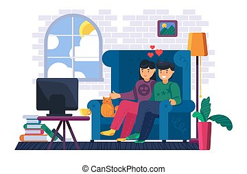 Couple sitting on sofa watch tv at home. Young man and woman watching film or tv show together. Domestic lifestyle and stay home concept. Cartoon vector illustration
