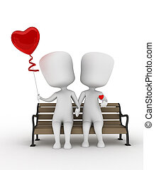 Couple Sitting Side by Side - 3D Illustration of a Couple...