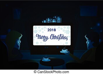 Couple Sitting Together, Merry Christmas And Happy New Year Winter Holiday Concept Banner