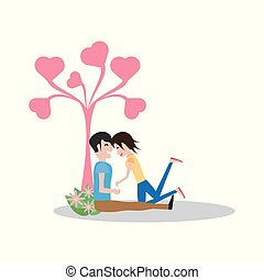 couple sitting with heart shape tree lovely