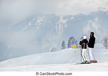 Mature Couple Skiing In The Mountains Happy Mature Couple Skiing