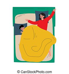 Couple Sleeping in Bed, Husband and Wife Slumbering at Nigh, View From Above Vector Illustration