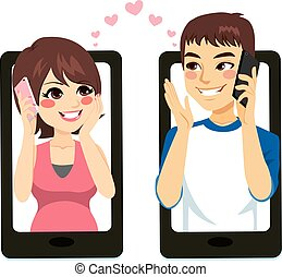 couple, smartphone, amour