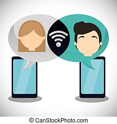 couple, smartphone, wifi, internet, bavarder
