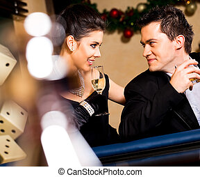 couple smiling casino