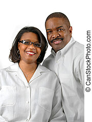 Couple Smiling - Happy couple together over a white...