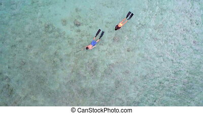 Couple snorkeling in the sea 4k