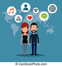 couple social media world icons