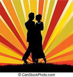 couple, soir hors