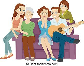 Couple Song For Wife Family - Illustration of a Husband...