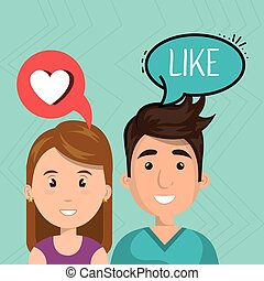 couple speak bubble design vector illustration eps 10
