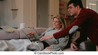 Couple spending a relaxing weekend at home