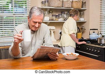 Couple spending the morning togethe - Senior couple spending...