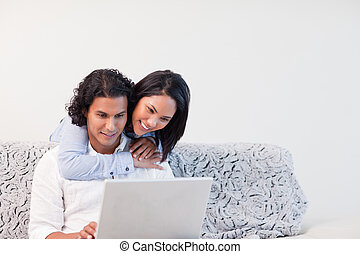Couple spending time online