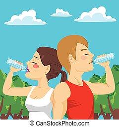 couple, sport, boire