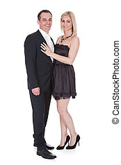 Couple Stand Over White Background