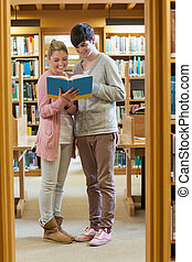 Couple standing at the library