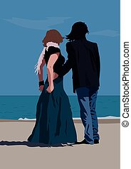 Couple standing at the seaside