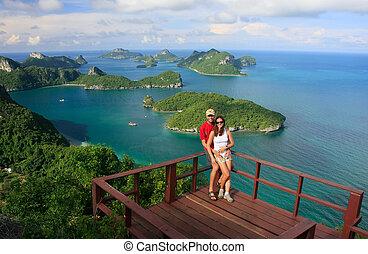 Couple standing at view point, Wua Talab island, Ang Thong...