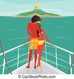 Couple standing on a yacht and admire the island