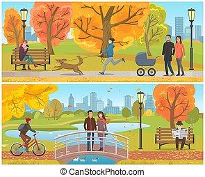 Couple Standing on Bridge Autumn Park Set Vector