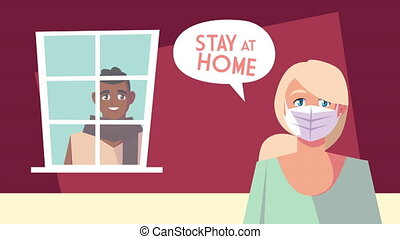 couple stay at home campaign animation ,4k video animated