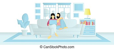 couple stay at home using laptop