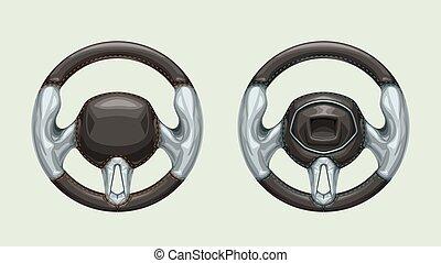 couple steering wheels on white - illustration of couple...