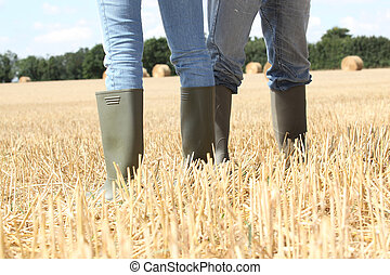 couple stood in field