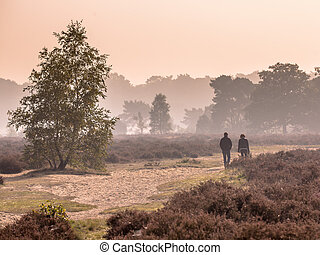 Couple strolling along path through heathland