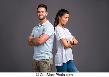 couple, studio, jeune, gentil