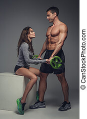 couple, studio., poser, fitness