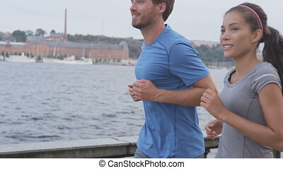 couple, suède, jogging, ville, stockholm, coureurs