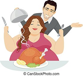 Couple Subculture Fat Fetishism Feeder - Illustration of a...