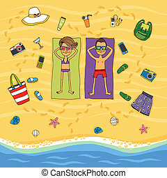 Couple sunbathing on a tropical beach - Cartoon vector...