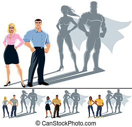 Conceptual illustration of ordinary couple with superhero shadow. The illustration is in 4 versions. No transparency and gradients used.