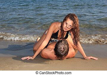 couple, sur, a, les, plage