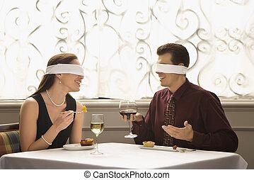 couple, sur, aveugle, date.