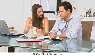 couple, sur, conversation, leur, dettes