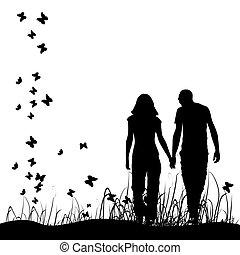 couple, sur, pré, noir, silhouette