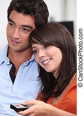 couple, tã©lã©viseur, ensemble, regarder
