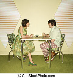 couple, table., séance