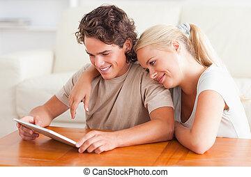 couple, tablette, heureux