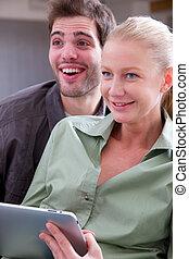 couple, tablette, numérique