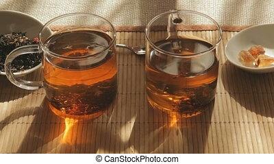 Couple take a morning tea