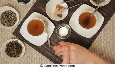 Couple take a tea