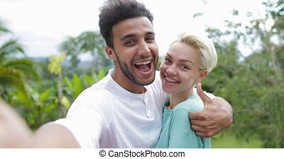 Couple Take Selfie Photo Embracing Laugh Outdoors Over...