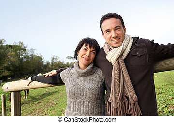 Couple taking a stroll in the countryside