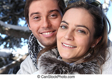 Couple taking a winter walk